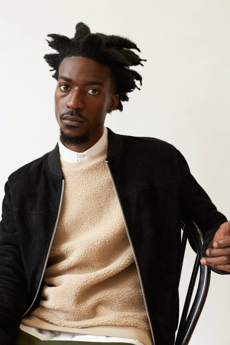 the-idle-man-suede-black-bomber-jacket-aw-17-lookbook