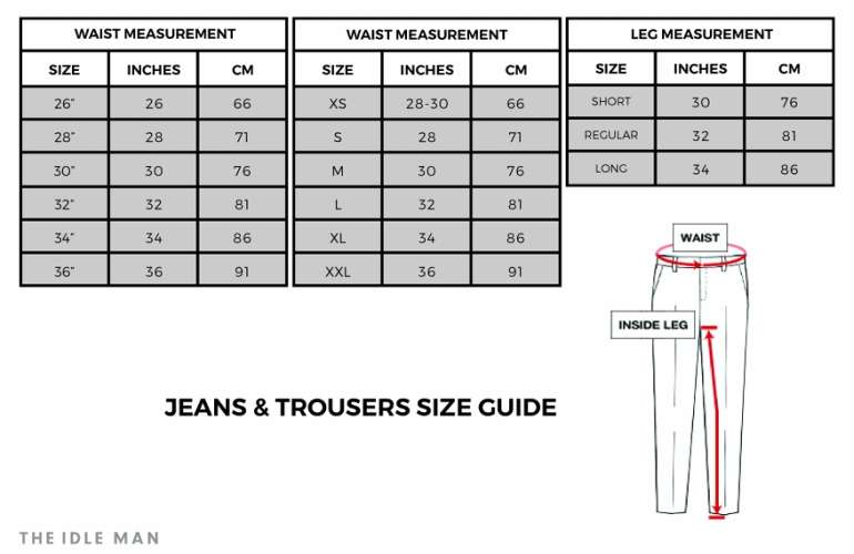 the idle man trouser size guide