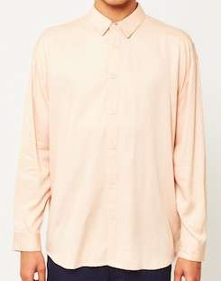 the idle man viscose long sleeve shirt pink for men