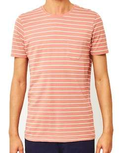 the idle man yarn dyed stripe t-shirt pink for men
