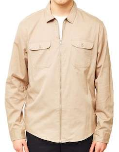 the idle man zip utility over shirt stone for men