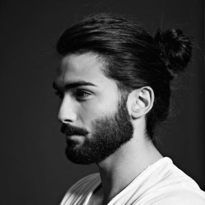 mens thick hair man bun and beard