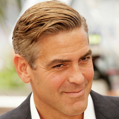 thin hair men side parting Clooney