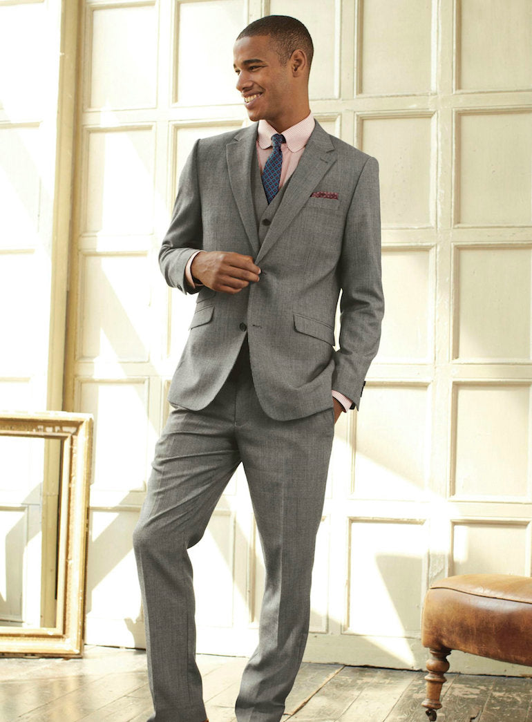 three piece suit grey mens wedding