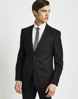THE IDLE MAN Mens Suit Jacket in Slim Fit Black