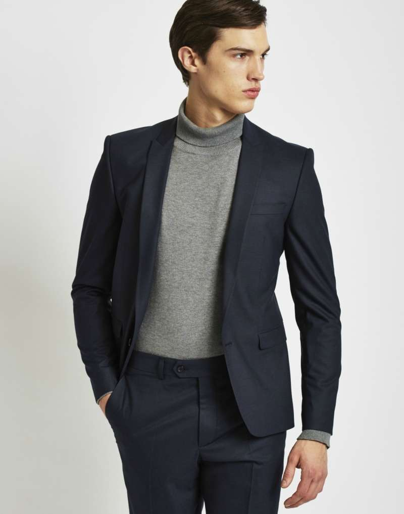 THE IDLE MAN Suit Jacket in Skinny Fit - Navy