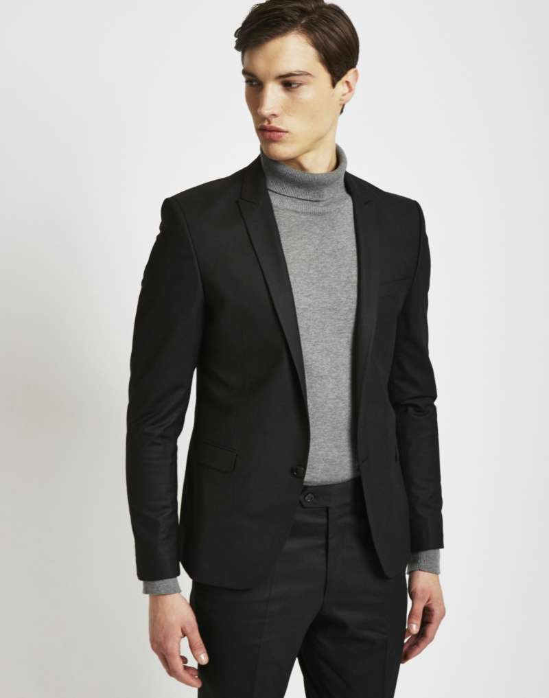 THE IDLE MAN Mens Suit Jacket in Skinny Fit - Black