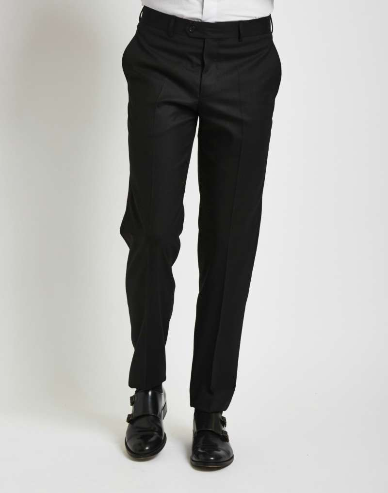THE IDLE MAN Mens Suit Trousers in Slim Fit Black
