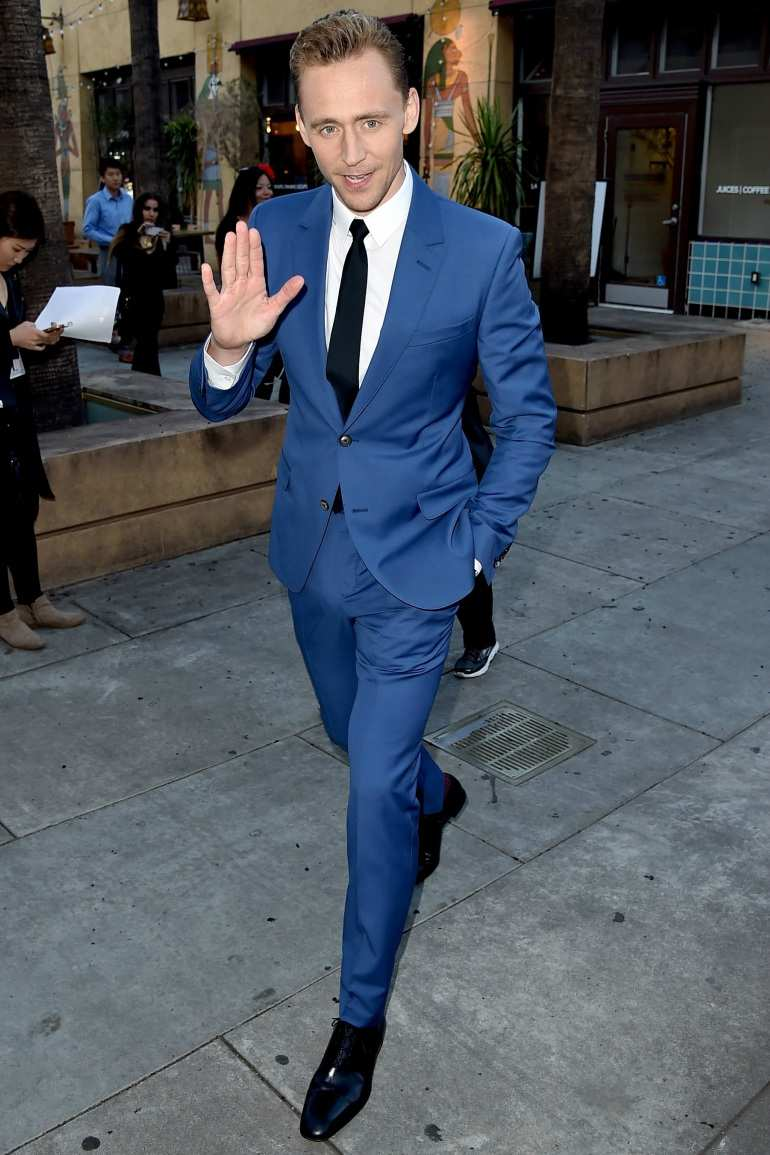 tom hiddleston navy suit mens street style