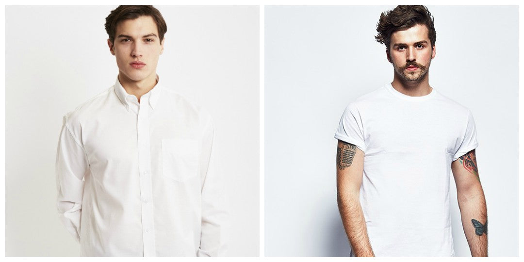 an all white tonal outfit grid for men