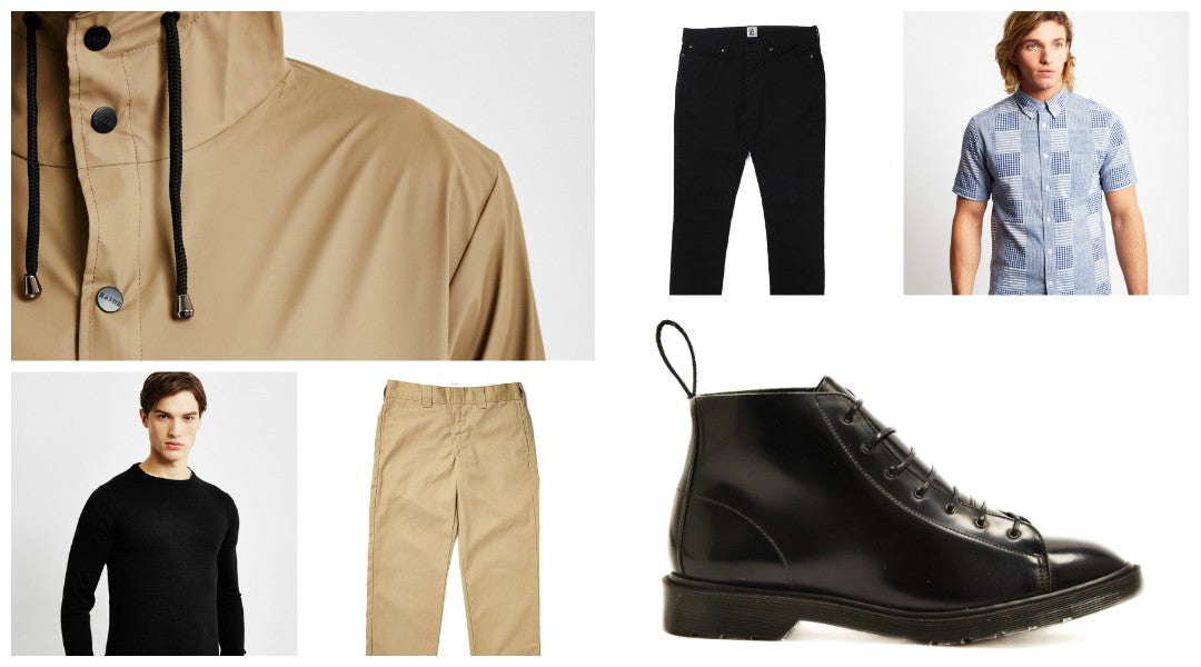 mixed tonal outfit grid for men