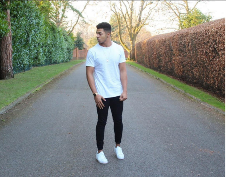 tyler west white t-shirt and jeans mens street style