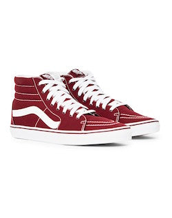 vans sk8 hi canvas trainers burgundy