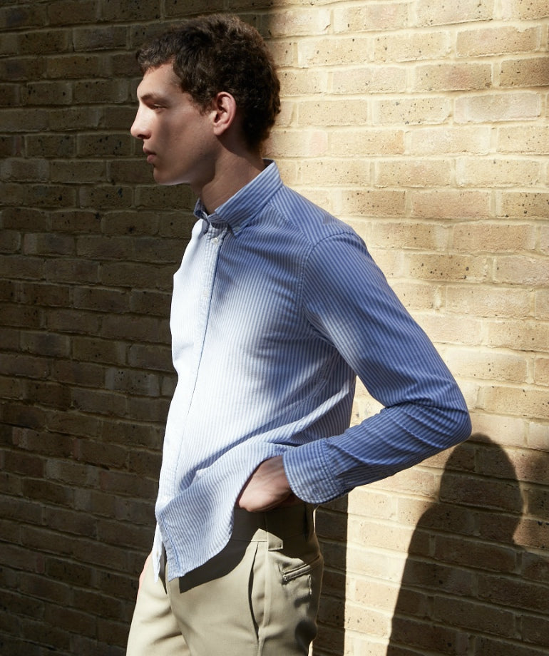 vertical striped shirt for men beige chinos mens street style