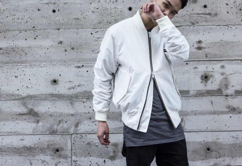 white bomber jacket men streetstyle