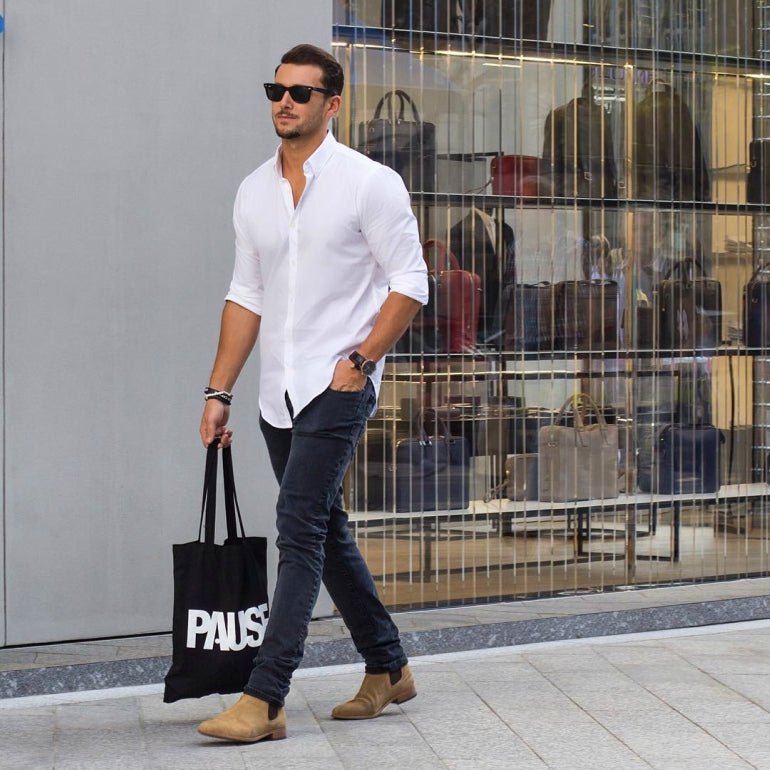 white button down oxford shirt mens street style