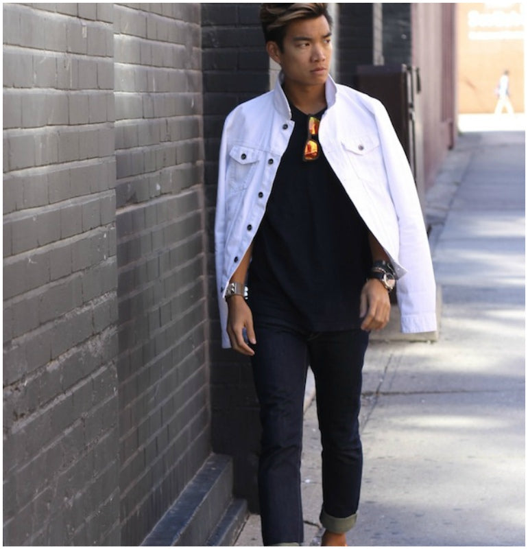 white denim jacket men street style