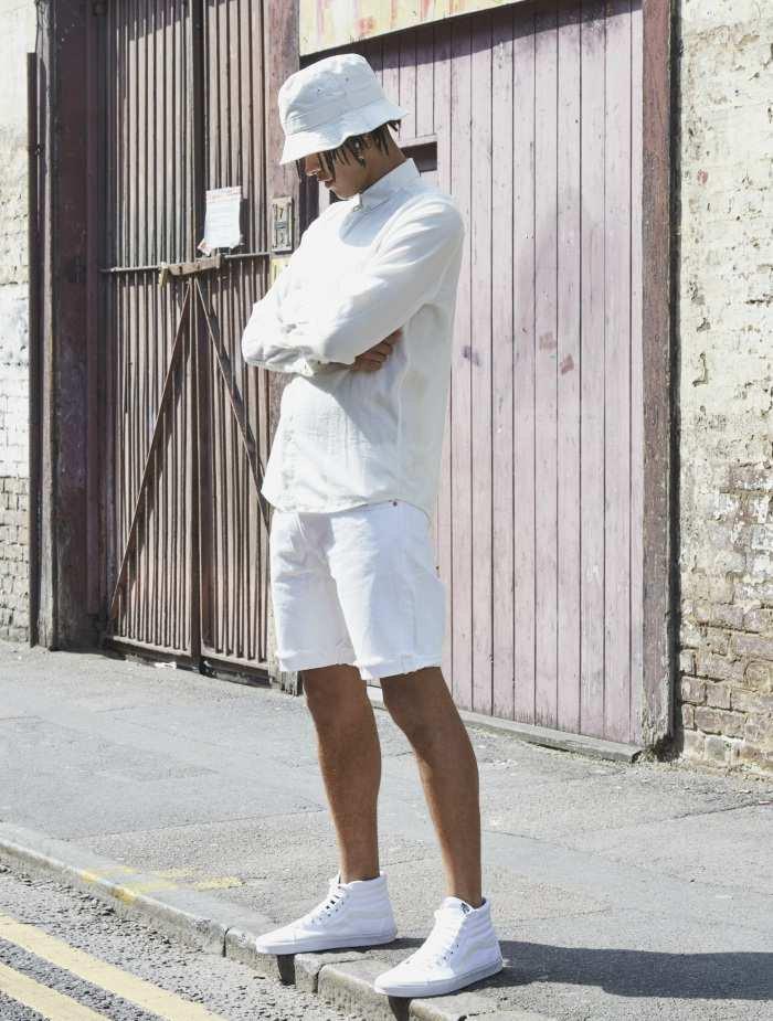 white out shorts look