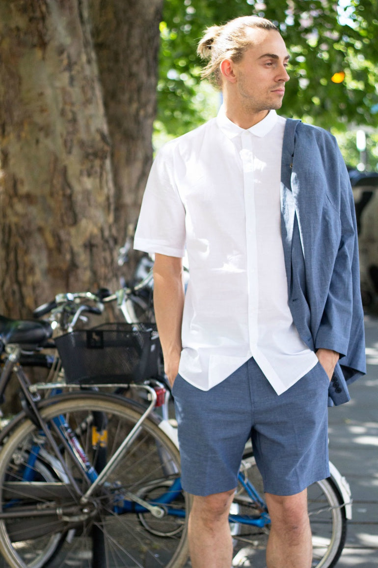 white short sleeve shirt navy shorts mens street style