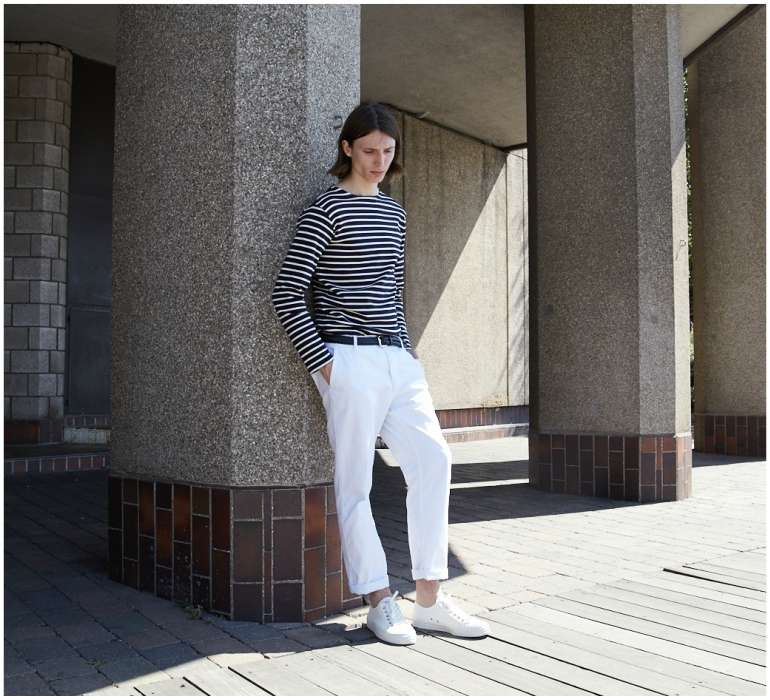 white trainers white chinos stripe top mens style