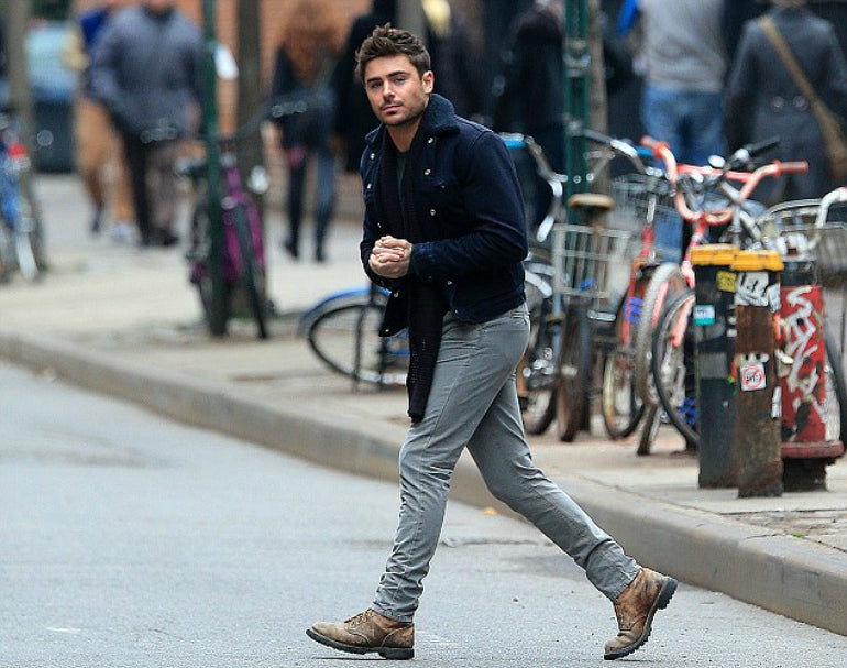 zac efron grey jeans brown boots mens street style