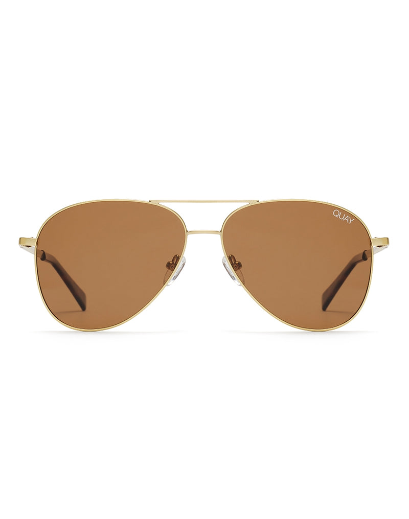 Quay Australia - Still Standing Matte Gold Sunglasses With Brown Flash Lens