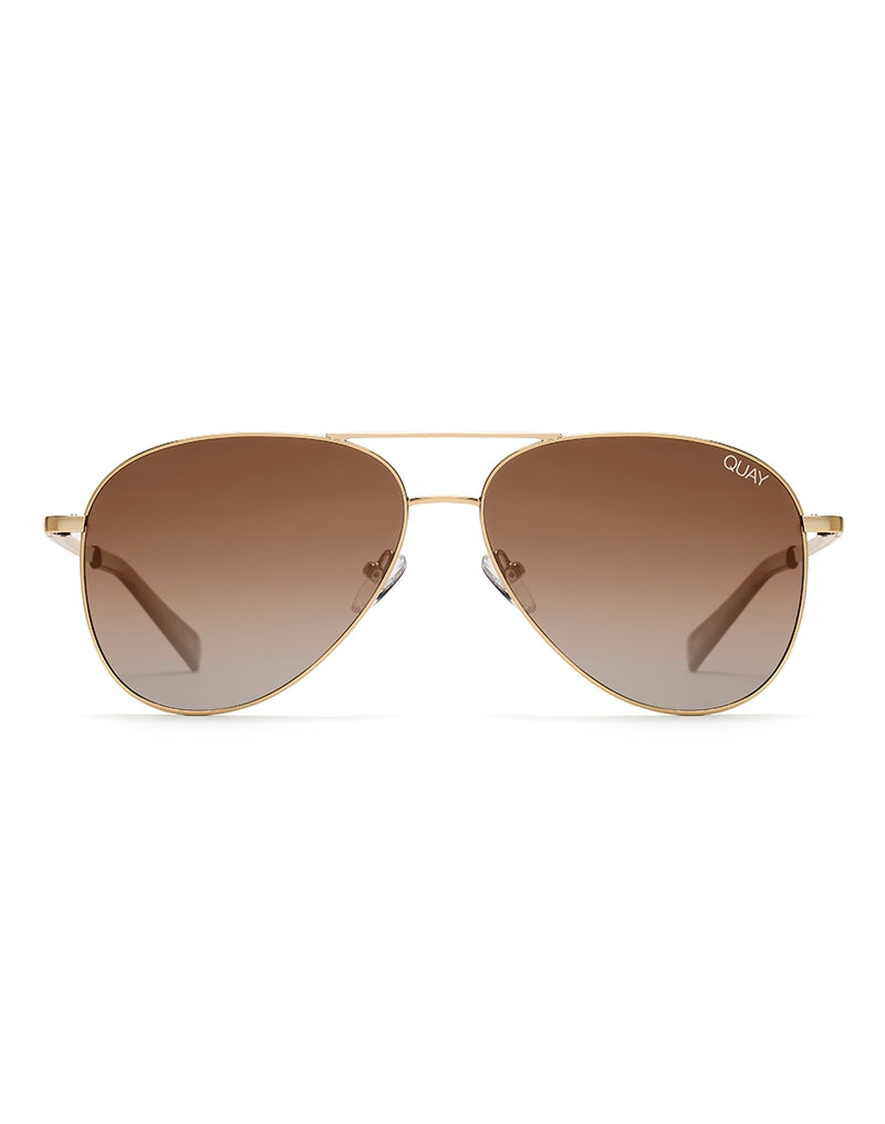 Quay Australia - Still Standing Hi Shine Gold Sunglasses With Smoke To Taupe Fade Lens