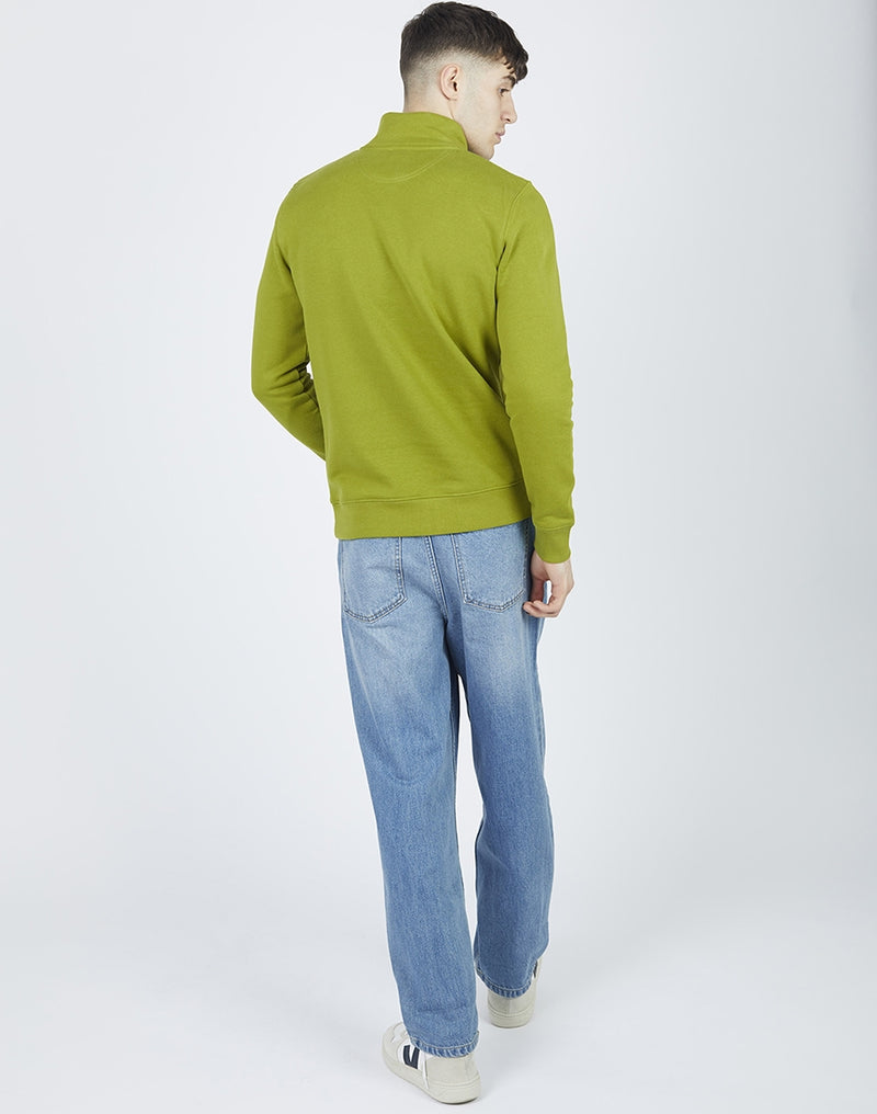 The Idle Man - Organic Cotton 1/4 Zip Sweatshirt Moss Green