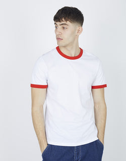 The Idle Man - Organic Cotton Ringer T-Shirt White & Bright Red