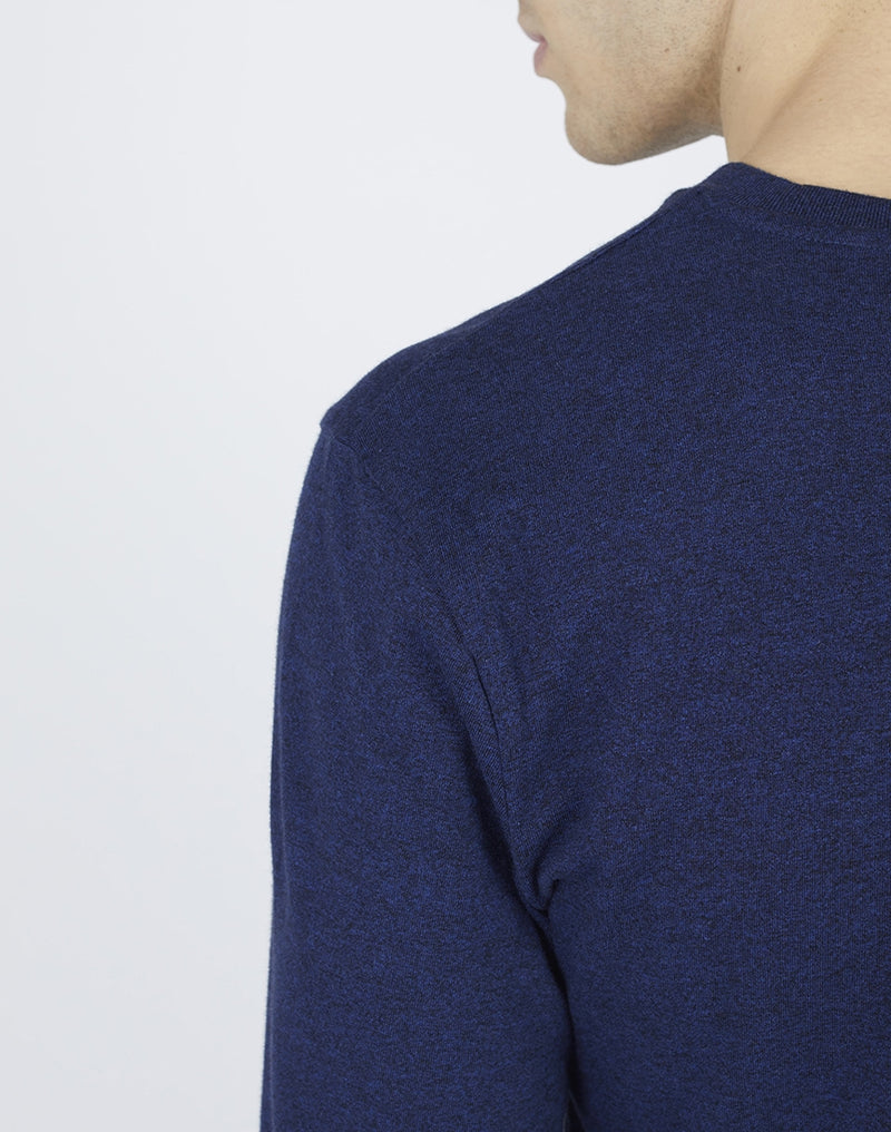 The Idle Man - Organic Cotton Long Sleeve T-Shirt Black Heather Blue