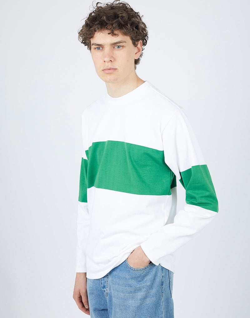 Good Measure - Long Sleeve Chest Stripe White/Emerald