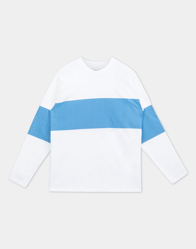Good Measure - Long Sleeve Chest Stripe White/Sapphire