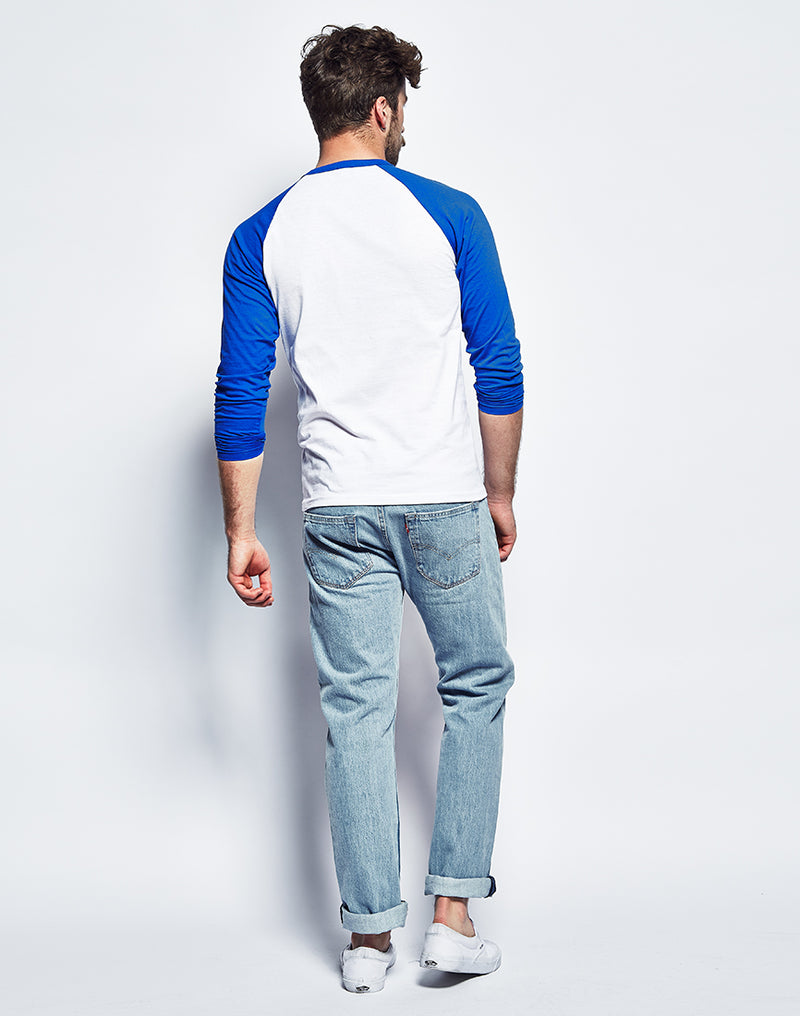 The Idle Man - Long Sleeve Raglan- White Blue