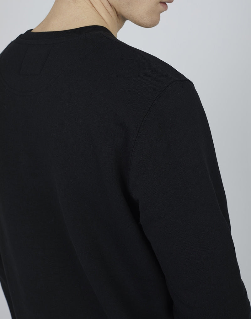 The Idle Man - Organic Cotton Crew Neck Sweatshirt Black