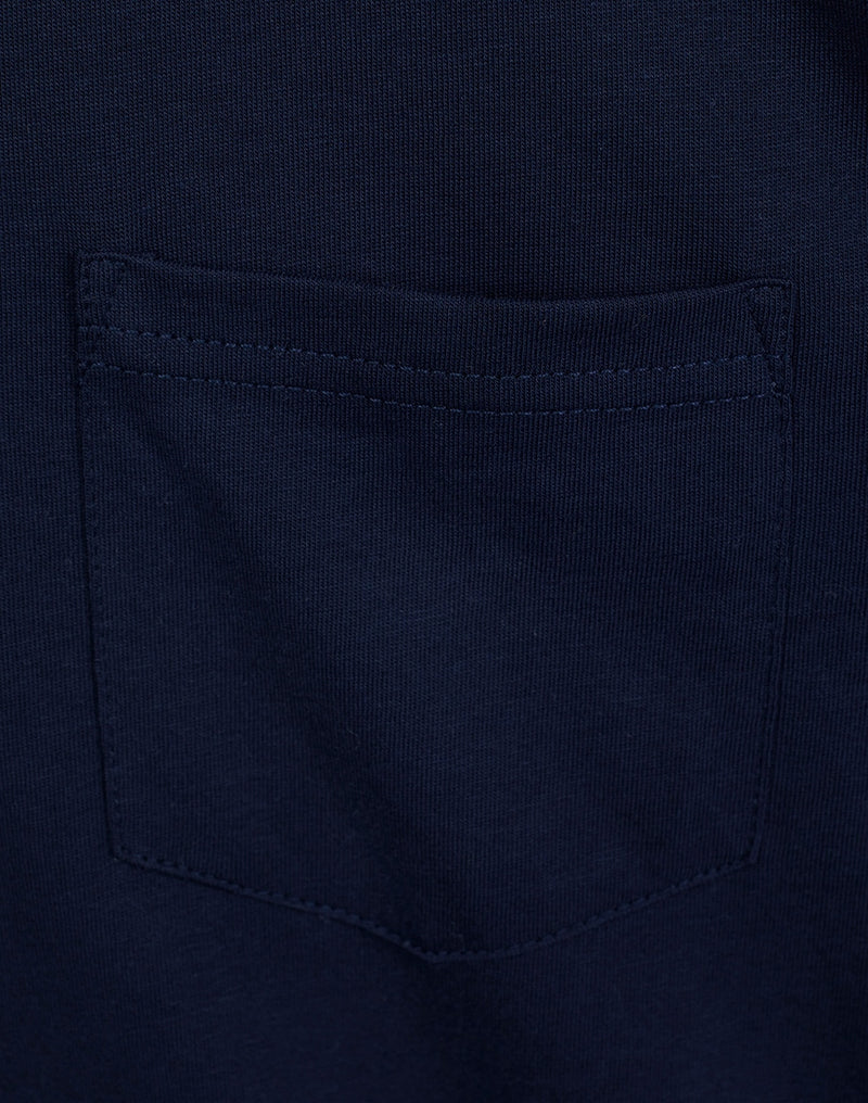 The Idle Man - Organic Cotton Pocket T-Shirt French Navy