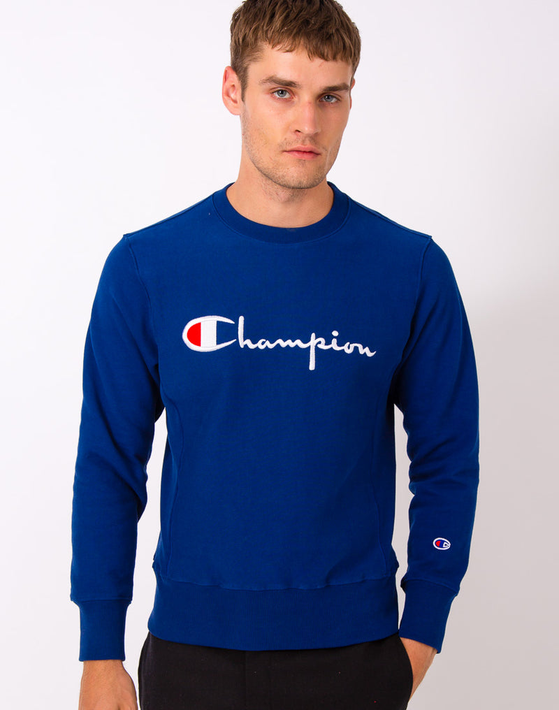 Champion - Reverse Weave Crew Neck Sweatshirt Blue