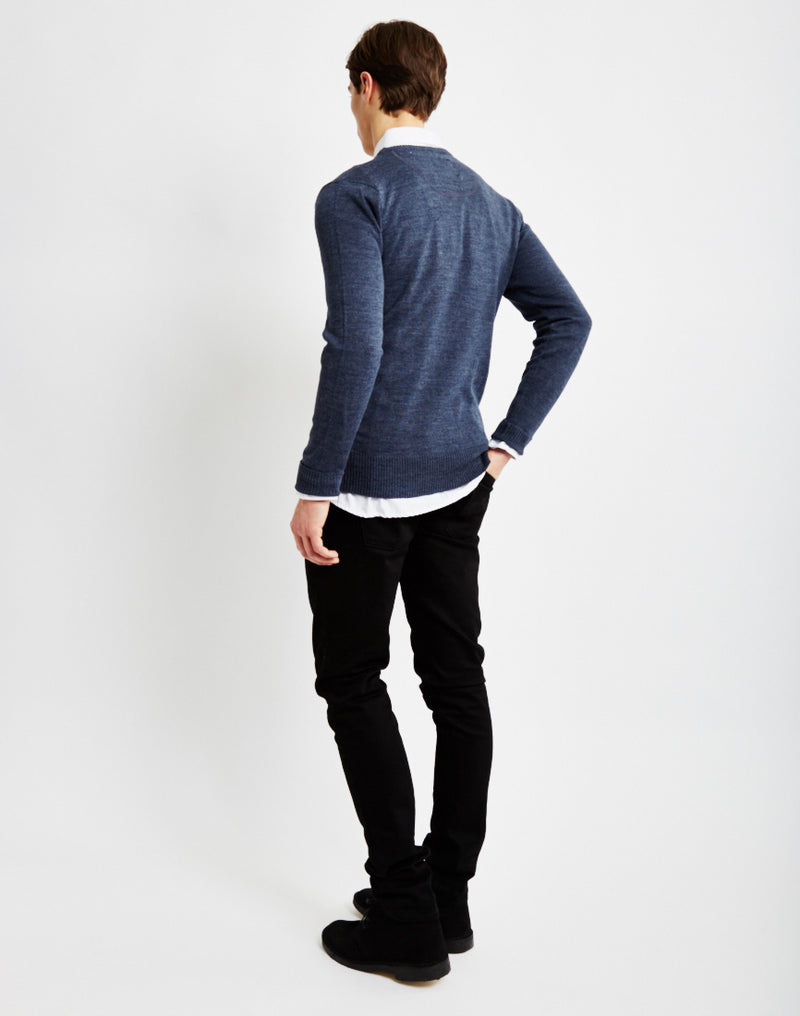 The Idle Man - Merino Jumper Blue