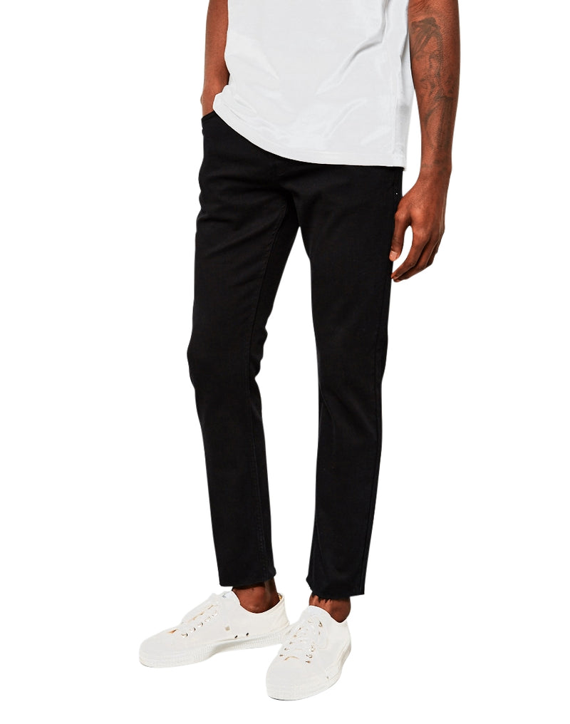 The Idle Man - Slim Fit Raw Hem Jeans Black