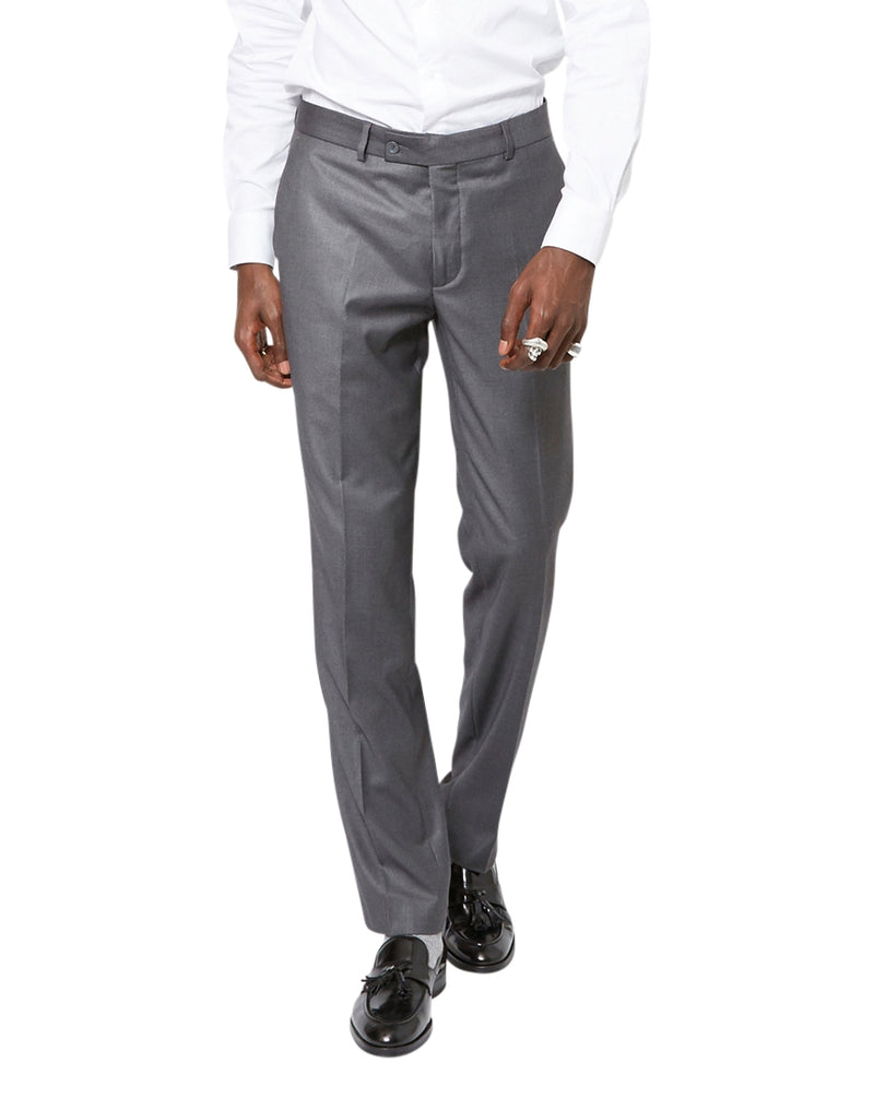 The Idle Man - Slim Fit Pure Wool Suit Trousers Grey