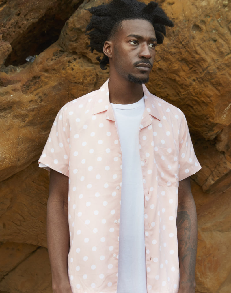 The Idle Man - Polka Dot Revere Collar Shirt Pink