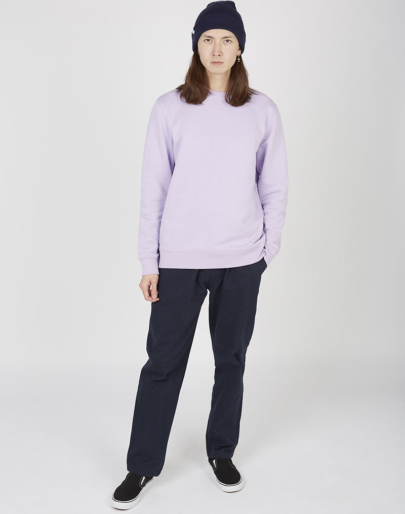 The Idle Man - Organic Cotton Crew Neck Sweatshirt Lavender Dawn