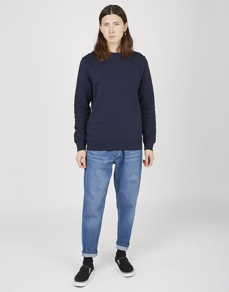 The Idle Man - Organic Cotton Crew Neck Sweatshirt French Navy