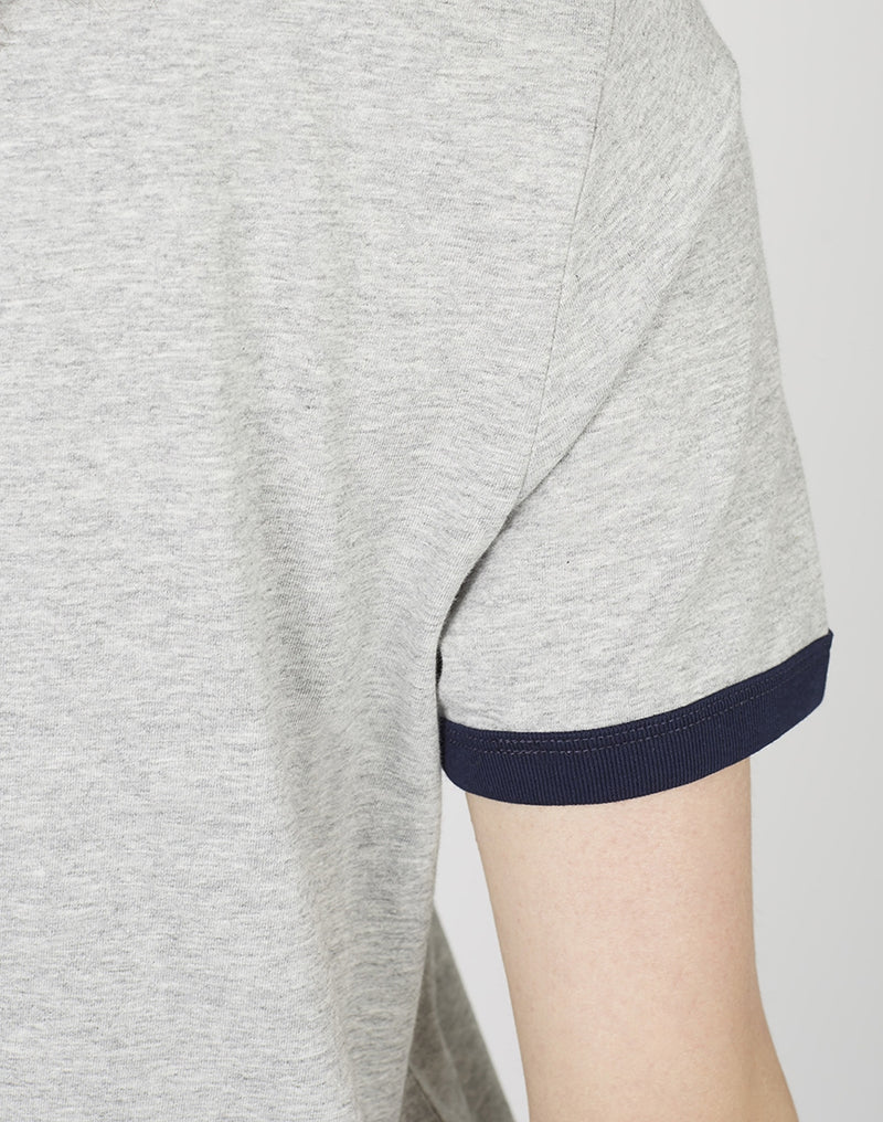 The Idle Man - Organic Cotton Ringer T-Shirt Heather Grey & French Navy