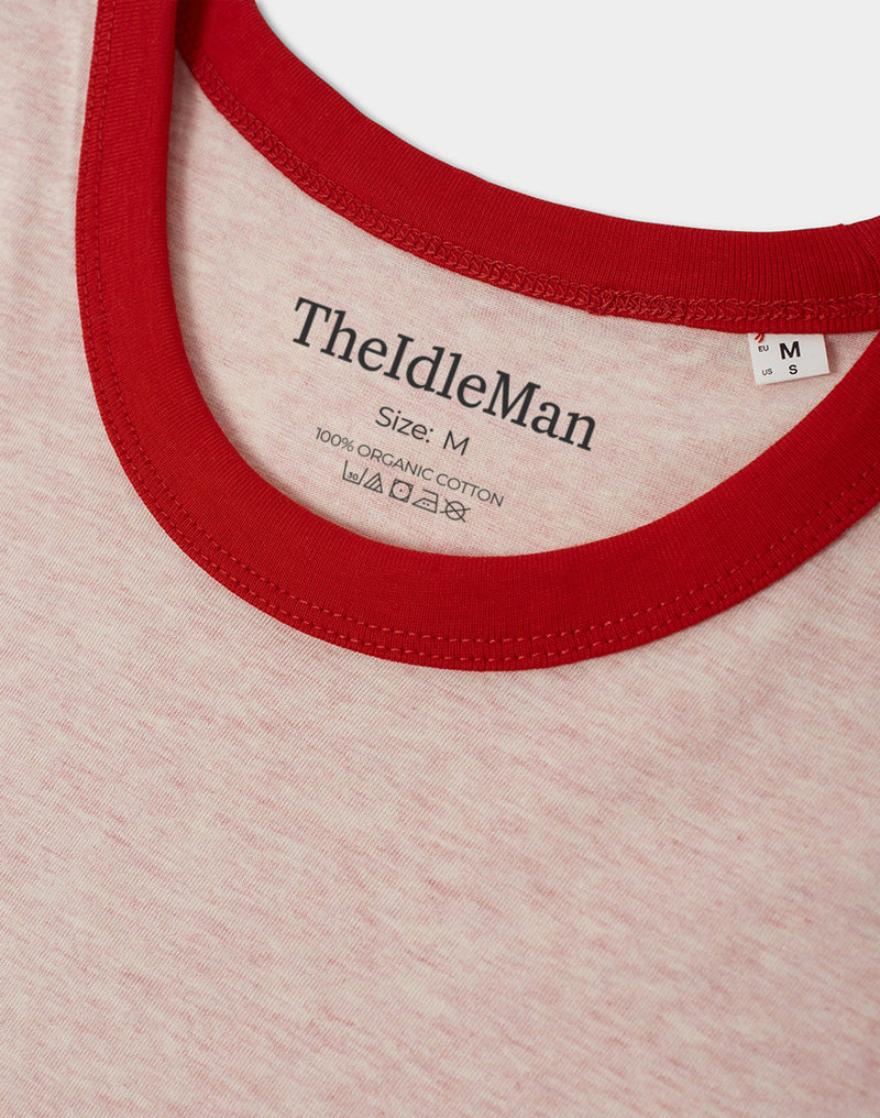 The Idle Man - Organic Cotton Ringer T-Shirt Cream Heather & Bright Red
