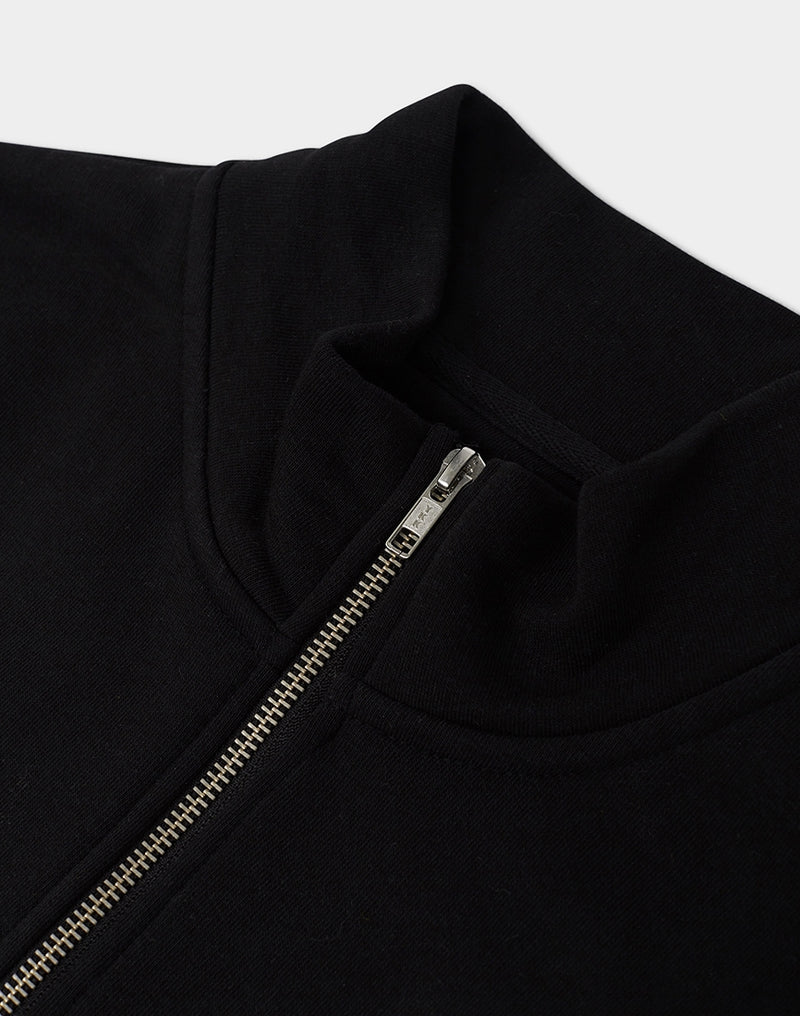 The Idle Man - Organic Cotton 1/4 Zip Sweatshirt Black