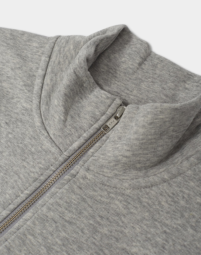 The Idle Man - Organic Cotton 1/4 Zip Sweatshirt Heather Grey