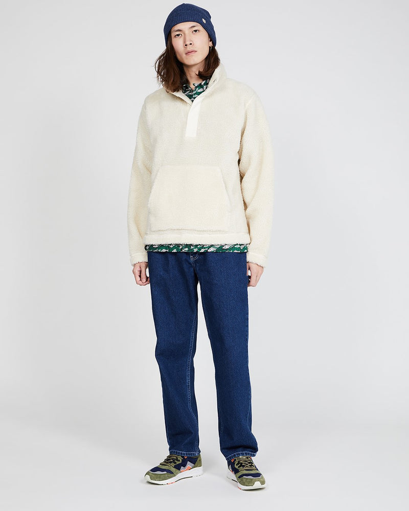 Albam - Curly Fleece Snap Neck Pullover Ecru