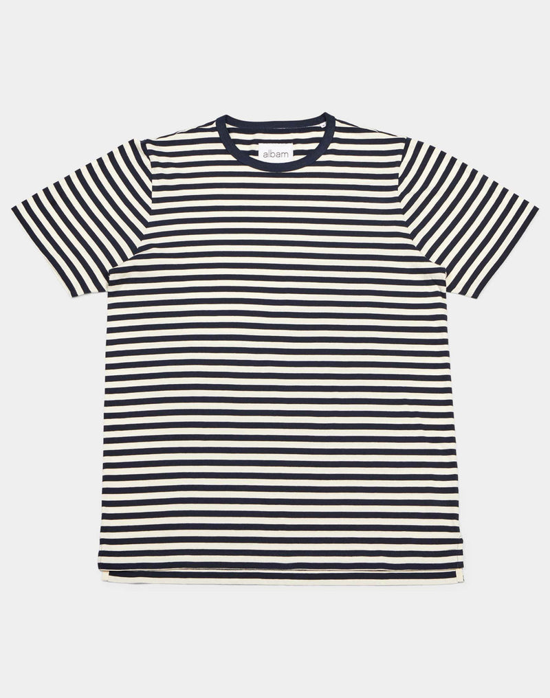 Albam - Fletcher T-Shirt in Stripes Navy & Ecru
