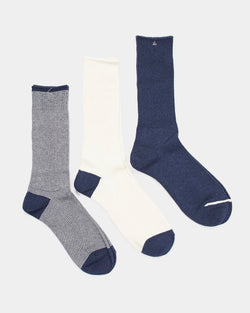 Anonymous Ism - Ame Rib 3 Pack Crew Sock Navy