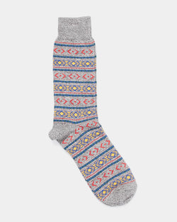 Anonymous Ism - Fairisle Crew Sock Charcoal Grey